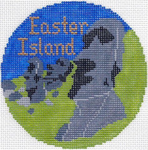 "Round~4.25"" Easter Island Chile handpainted Needlepoint Canvas~by Silver Needle"
