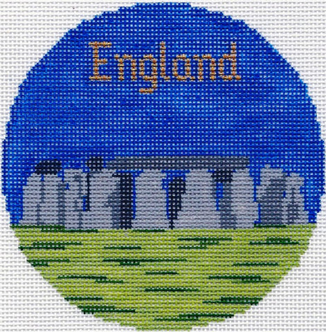 "Round~4.25"" England Stonehenge handpainted Needlepoint Canvas~by Silver Needle"