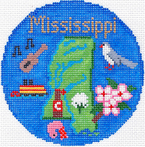 "Round~4.25"" Mississippi handpainted Needlepoint Canvas~by Silver Needle"