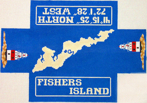 Brick Cover~Fisher's Island New York Brick Cover handpainted Needlepoint Canvas~by Silver Needle** SP.ORDER**