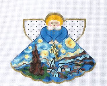 Angel~Starry, Starry Night Angel & Charms  handpainted Needlepoint Canvas Ornament Painted Pony **MAY NEED TO BE SPECIAL ORDERED**
