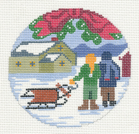 "Round~ 4"" Sledding All Day handpainted Needlepoint Canvas~by Silver Needle"