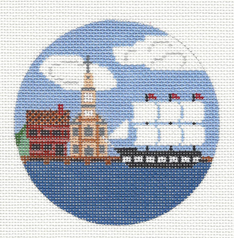 "Round~4"" Boston~ Destination round handpainted Needlepoint Canvas~by Painted Pony"