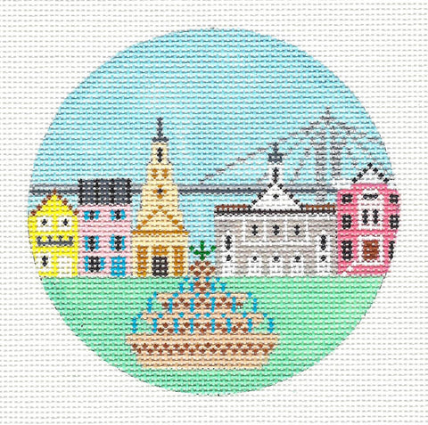 "Round~4"" South Carolina~ Destination round handpainted Needlepoint Canvas~ by Painted Pony Designs  **MAY NEED TO BE SPECIAL ORDERED**"