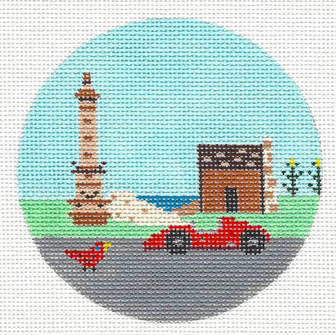 "Round~4"" Indiana~Destination round handpainted Needlepoint Canvas~by Painted Pony  **MAY NEED TO BE SPECIAL ORDERED**"