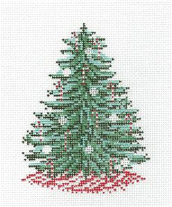 Canvas~Candy Canes Christmas Tree handpainted Needlepoint Canvas by Needle Crossings