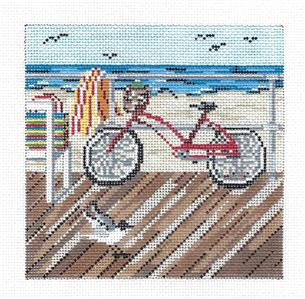 "Canvas~Bicycle on the Boardwalk 5"" handpainted Needlepoint Canvas by Needle Crossings"