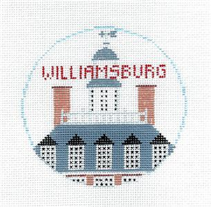 Travel Round~WILLIAMSBURG, VIRGINIA Needlepoint Canvas~by Kathy Schenkel**MAY NEED TO BE SPECIAL ORDERED**