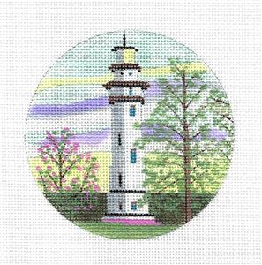 "Round-""Lighthouse on Staten Island, New York"" handpaint Needlepoint Canvas Purple Palm"