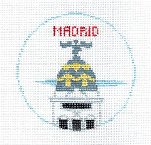 Travel Round~MADRID, SPAIN Needlepoint Canvas~by Kathy Schenkel**MAY NEED TO BE SPECIAL ORDERED**