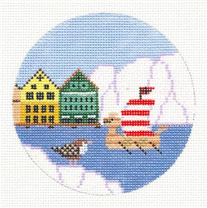 "Round~NORWAY Viking Ship handpainted Needlepoint Canvas 4"" Ornament by Painted Pony"