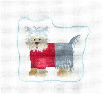 Canvas~Yorkie in a Sweater Dog handpainted Needlepoint Canvas Ornament Kathy Schenkel