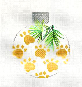 Round~Golden Paw Prints Ornament handpainted Needlepoint Canvas by Whimsy & grace