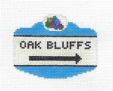 Canvas~OAK BLUFFS, MARTHA'S VINEYARD Sign handpainted Needlepoint Canvas Silver Needle