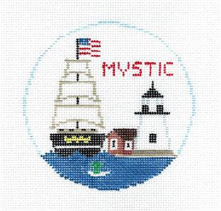 Travel Round~MYSTIC, CONNECTICUT Needlepoint Canvas~by Kathy Schenkel**MAY NEED TO BE SPECIAL ORDERED**