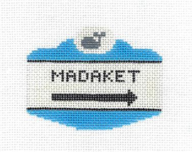 Canvas~MADAKET, MASS. NANTUCKET SIGN handpainted Needlepoint Canvas by Silver Needle
