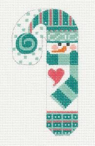 Snowman w/ Scarf SM. Candy Cane HP Needlepoint Canvas & STITCH GUIDE Danji