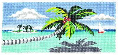 "Canvas~Tropical Palm Tree handpainted Needlepoint Canvas ~ BR Insert ~ 8.25"" by 4"" LEE"