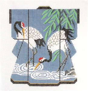 Kimono~Two Oriental Cranes MED. Kimono handpainted Japanese Needlepoint Canvas by LEE
