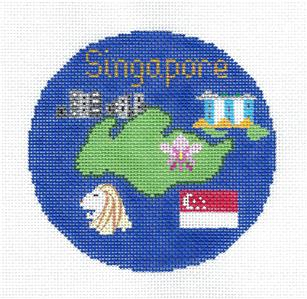"Round~ 4.25"" SINGAPORE Country handpainted Needlepoint Canvas Ornament Silver Needle"