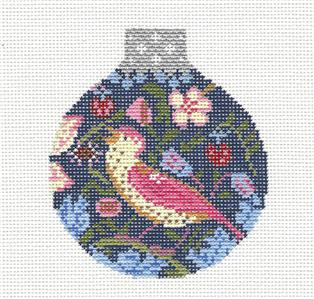 Round~Warbler Accomplice Bird Ornament handpainted Needlepoint Canvas Whimsy & grace