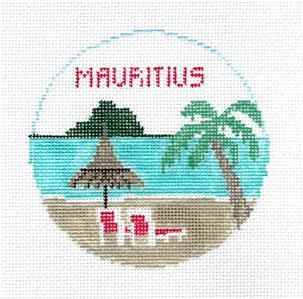 Travel Round~MAURITIUS ISLAND  Needlepoint Canvas~by Kathy Schenkel**MAY NEED TO BE SPECIAL ORDERED**