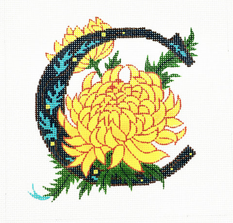 Alphabet~C with Floral Chrysanthemum handpainted Needlepoint Canvas Design by LEE