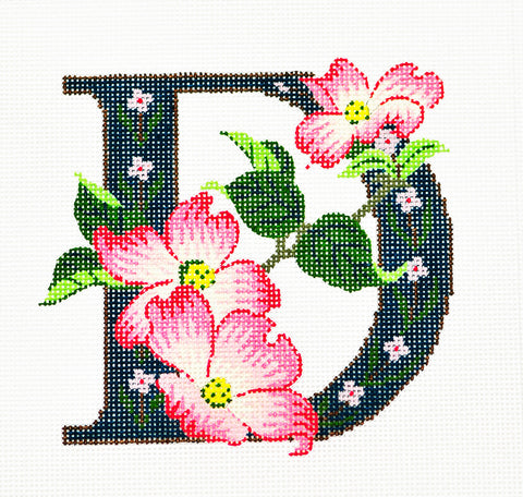 Alphabet~D with Floral Dogwood handpainted Needlepoint Canvas Design by LEE