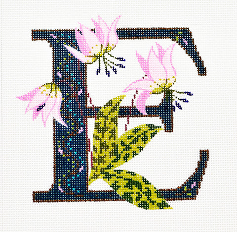 Alphabet~E with Floral Erythronium handpainted Needlepoint Canvas Design by LEE