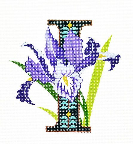 Alphabet~I with Floral Iris handpainted Needlepoint Canvas Design by LEE
