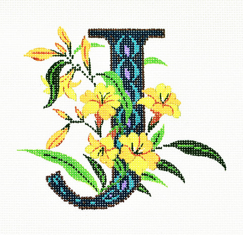 Alphabet~J with Floral Jasmine handpainted Needlepoint Canvas Design by LEE