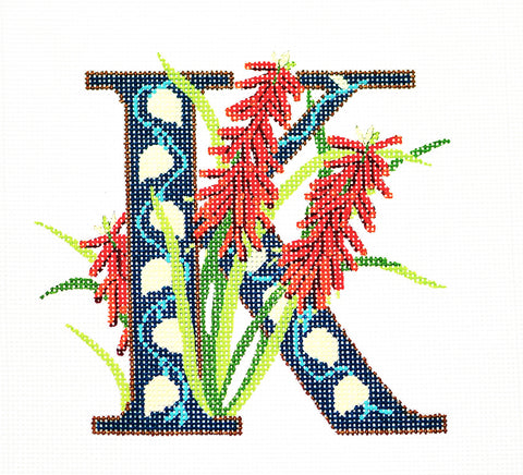 Alphabet~K with Floral Kniphofia handpainted Needlepoint Canvas Design by LEE
