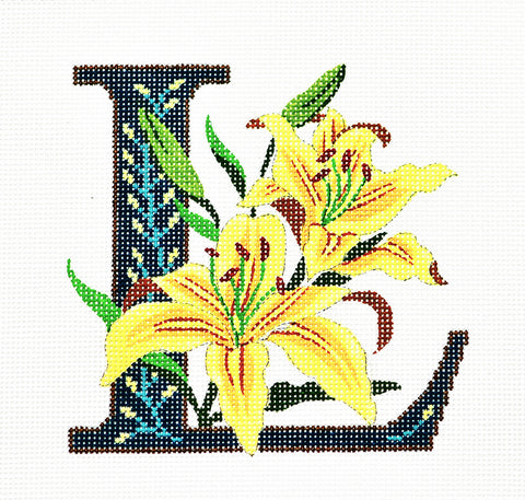 Alphabet~L with Floral Lily handpainted Needlepoint Canvas Design by LEE