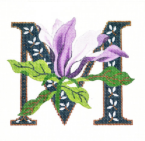 Alphabet~M with Floral Magnolia handpainted Needlepoint Canvas Design by LEE