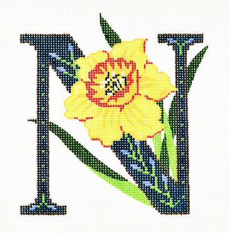 Alphabet~N with Floral Narcissus handpainted Needlepoint Canvas Design by LEE