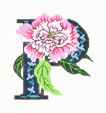 Alphabet~P with Floral Peony handpainted Needlepoint Canvas Design by LEE