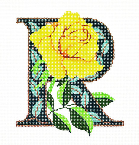 Alphabet~R with Floral Rose handpainted Needlepoint Canvas Design by LEE