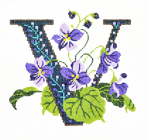 Alphabet~V with Floral Violet handpainted Needlepoint Canvas Design by LEE