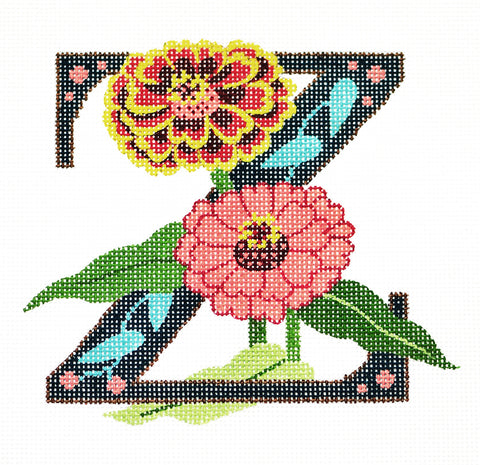 Alphabet~Z with Floral Zinnia handpainted Needlepoint Canvas Design by LEE