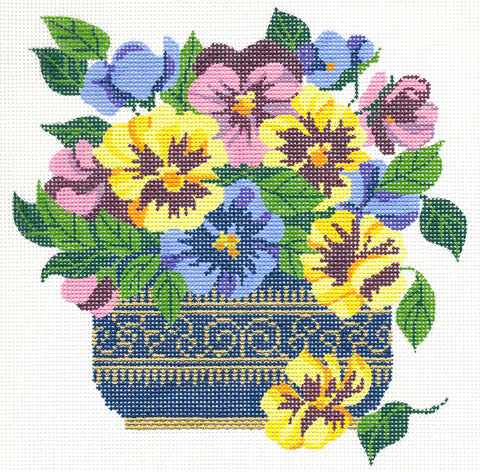 Canvas Floral~Vase of Spring Pansy Blossoms Design handpainted HP Needlepoint Canvas 18m