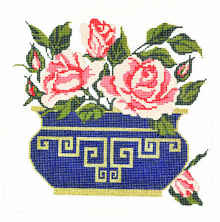 Canvas Floral~LEE Vase of Summer Rose Blossoms Design handpainted HP Needlepoint Canvas 18m