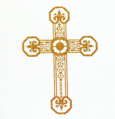 "Cross~ Elegant 7"" tall Gold and White CROSS handpainted Needlepoint Canvas by LEE"