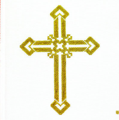 Cross~ Gold Filigree#3 handpainted Needlepoint Canvas by LEE