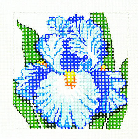 Canvas Floral~Blue Iris handpainted Needlepoint Canvas