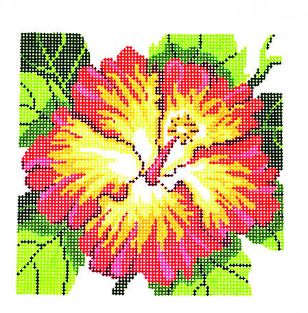 Canvas Floral~ LEE Hibiscus Flower Series handpainted Needlepoint Canvas on 12 Mesh