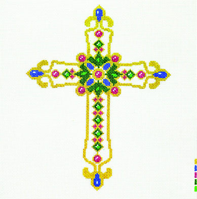 Cross ~ Green & White handpainted Needlepoint Canvas
