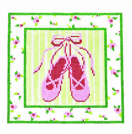 Canvas~Pink Ballet Slippers,Green & Pink Flower Border handpainted Needlepoint Canvas