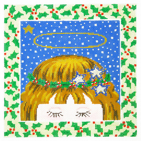 Canvas~LEE Darling Holiday Angel handpainted Needlepoint Canvas on 16 Mesh