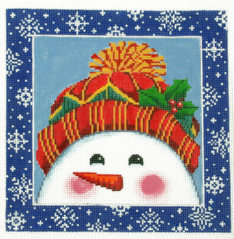 Canvas~LEE Holiday Winter Snowman handpainted Needlepoint Canvas on 16 Mesh