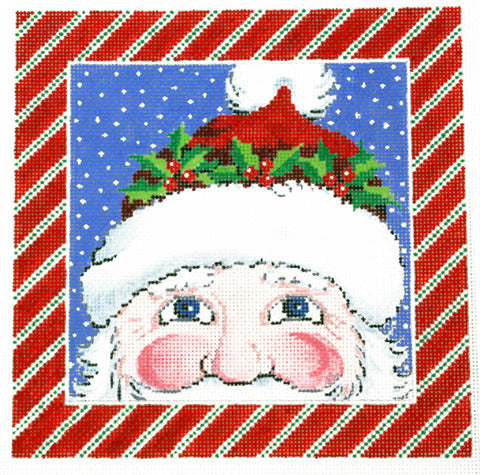Canvas~Christmas Santa Claus in Holly Hat handpainted Needlepoint Canvas by LEE 16 Mesh